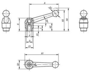 KIPP Clamping levers 20 degrees, internal thread Czarny Cynkowy odlew ciśnieniowy/stal 5.8 Powlekane tworzywem/czarna oksydacja M10X14