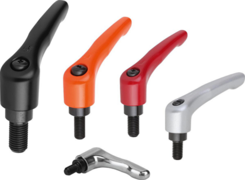 KIPP Clamping levers, external thread Red Die cast zinc/steel 5.8 Plastic coated/black oxide M10X80X30