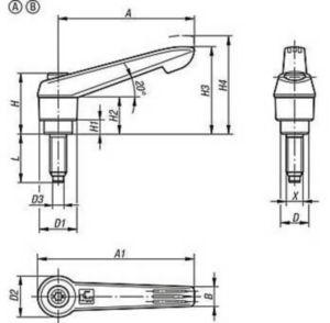 KIPP Clamping levers with thrust pad Steel 5.8, čep Mosaz, plastová rukojeť Černý oxid M10X13,5X40