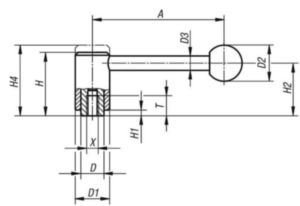 KIPP Tension levers 0 degrees, internal thread Černá Ocel 5.8 / plast Plastový povlak M12X23
