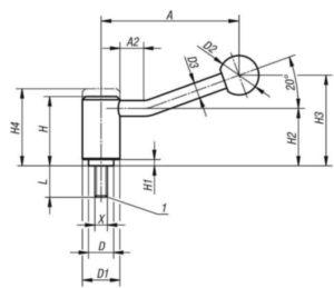 KIPP Tension levers 20 degrees, external thread Stainless steel 1.4305/plastic M10X4,5X15