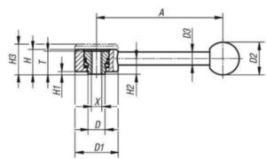 KIPP Tension levers, flat, 0 degrees, internal thread Acero inoxidable 1.4305 / plástico M12