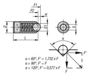 Stifturi indexoare cu bila si locas hexagonal, presiune standard Otel 5.8 Oxid negru M16