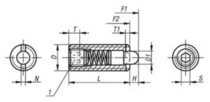 Poussoir à ressort à six pans creux et avec doigt d'appui, force du ressort standard Acier 5.8 Oxyde noir M24