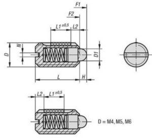 Piezas de presión con resorte, ranura y perno de presión, aseguradas con LONG-LOK, fuerza del muelle reforzada Acero inoxidable 1.4305 M10