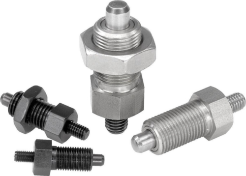 Indexing plungers with threaded pin, without locknut