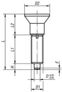 KIPP Indexing plungers without collar, without locknut Filet metric fin Otel inoxidabil 1.4305, cep tratat 12MM