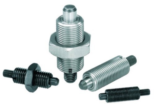Indexing plungers with threaded pin, without collar, with locknut