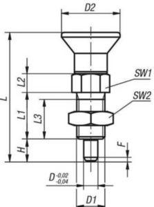 KIPP Indexing plungers with extended pin, non-lockout type, with locknut Metrický jemný závit Ocel 5.8, tvrzený čep, plastová rukojeť Černý oxid 5MM