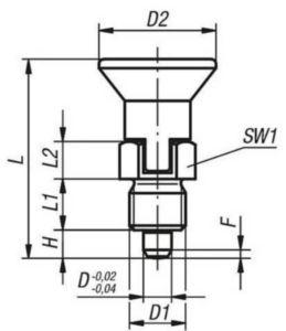 KIPP Indexing plungers, short, lockout type, without locknut Metrický jemný závit Ocel 5.8, tvrzený čep, plastová rukojeť Černý oxid 4MM