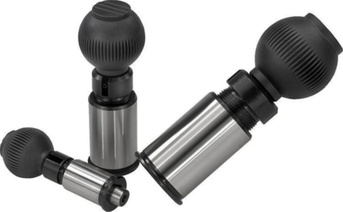 KIPP Precision indexing plungers with tapered pin, lockable Steel, grip ball thermoplastic black/grey 12MM