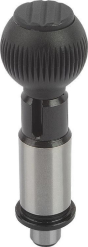 KIPP Precision indexing plungers with cylindrical pin, standard Otel, maner bila termoplastic negru/gri 16MM