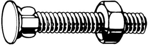 Flat countersunk wing neck bolt with hexagon nut  DIN -/ 555 (1987)  Steel  Zinc plated  ≥4.6