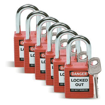Brady Safety padlock 38MM W/SS RED KD 6PC