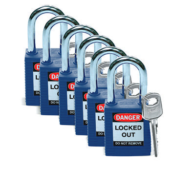 Brady Safety padlock 38MM W/SS BLUE KD 6PC