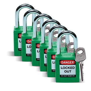 Brady Safety padlock 38MM W/SS GREEN KD 6PC