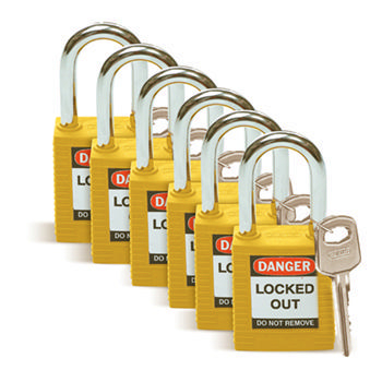 Brady Safety padlock 38MM W/SS YELLOW KD 6PC