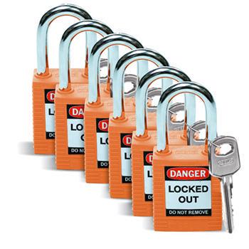 Brady Safety padlock 38MM W/SS ORANGE KD 6PC