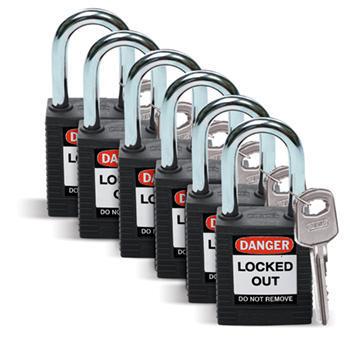 Brady Safety padlock 38MM W/SS BLACK KD 6PC