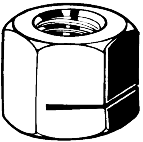 Prevailing torque type hexagon nut, all metal H130-ESN Steel Zinc plated