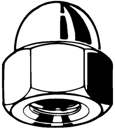 Hexagon domed cap nut, high type DIN 1587 Steel Zinc plated 6
