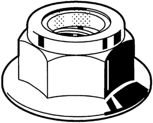 Prevailing torque type hexagon nut with serrated flange with non-metallic insert DIN ≈6926 Roestvaststaal (RVS) A2 50