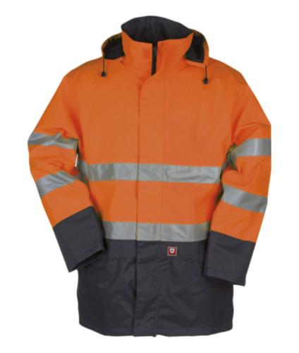 Sioen Hoge zichtbaarheid parka Reaven 9462 9462 Fluorescerend oranje/marineblauw XL