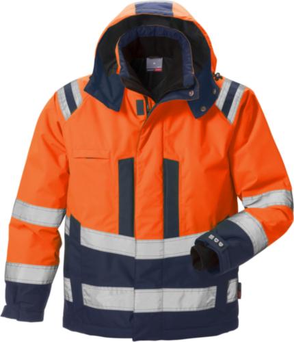 Fristads Kansas Veste d'hiver 4035 Fluorescent orange/Marine blue XS
