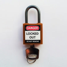 Brady Compact safe padlock 25MM SHA KD ORANGE 6PC