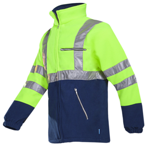 Sioen High visibility fleece jacket Kingley 497Z Fluorescent yellow/Navy blue XL