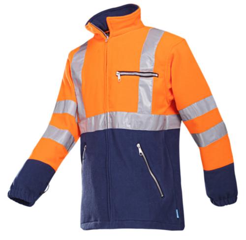 Sioen High visibility fleece jacket Kingley 497Z Fluorescent orange/Navy blue M