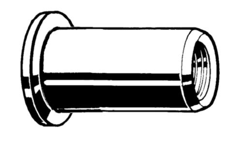Blindklinkmoer open, cilinderkop, ronde schacht Roestvaststaal (RVS) A4