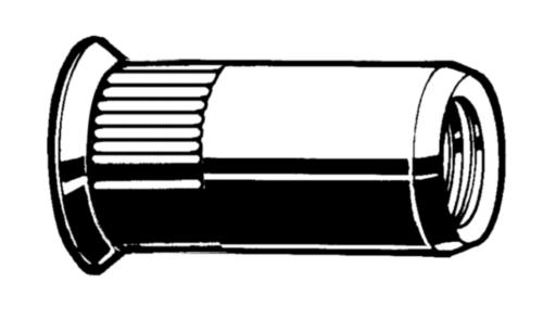 Blindklinkmoer open, verzonkenkop, ronde gekartelde schacht Staal Elektrolytisch verzinkt