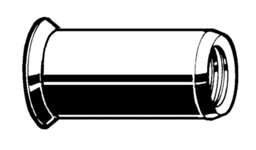 Blindklinkmoer open, verzonken kop, ronde gladde schacht Roestvaststaal (RVS) A4