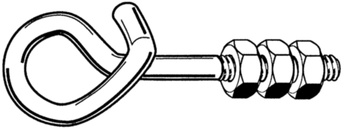 Safety swing hook with 3 hexagon nuts Steel Zinc plated
