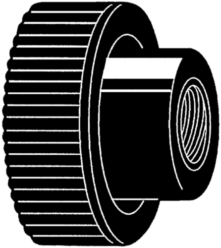 Knurled knob with brass thread insert and through hole Üvegszál-erősítésű műanyag nyitott, menetes persellyel