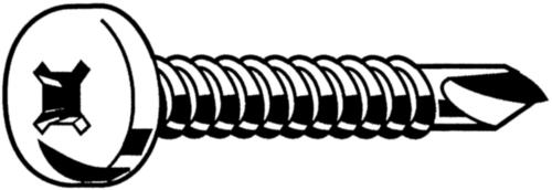 Self-drilling pan head screw with SR-recess DIN ≈7504 M Steel Zinc plated