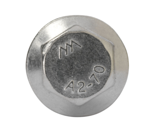 Hexagon flange bolt with serrated flange, fully threaded DIN ≈6921 Stainless steel A2 70 M5X8