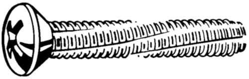 Cross recessed raised countersunk head thread cutting screw DIN 7516 EE-H Steel Zinc plated