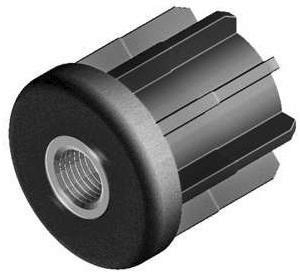 Threaded bush for round tube Plastic PA, glass fibre reinforced / brass Niklowane B=30 M10-30X26