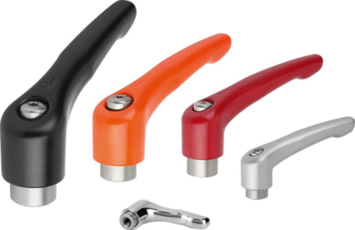 KIPP Clamping levers, internal thread Oranžová Die cast zinc/stainless steel 1.4305 Plastic coated/bright M12X95
