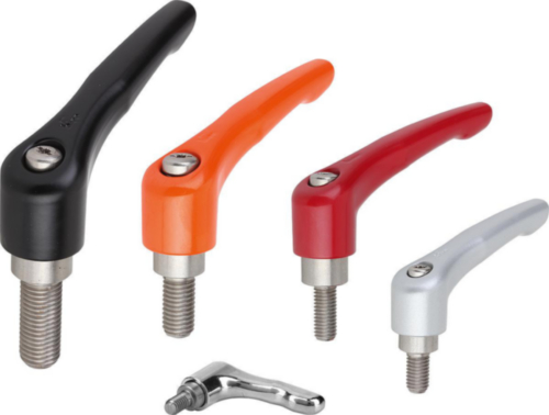 KIPP Clamping levers, external thread Silver Die cast zinc/stainless steel 1.4305 Plastic coated/bright