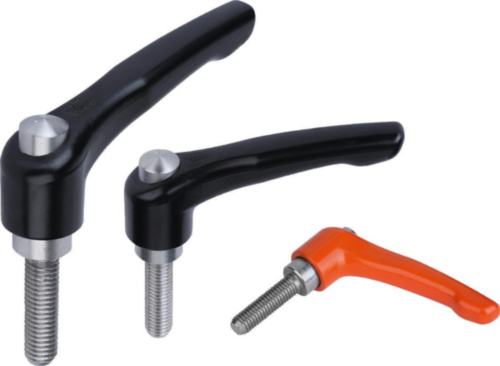 KIPP Clamping levers, external thread with cap Orange Die cast zinc/stainless steel 1.4305 Plastic coated/bright