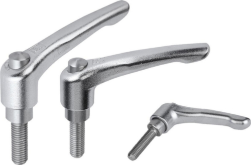 KIPP Clamping levers, external thread with cap Silver Stainless steel 1.4308/1.4305 Electrolytic polished/bright