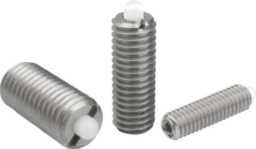 Spring plungers with hexagon socket and thrust pin, standard spring force Stainless steel 1.4305, POM pin M3
