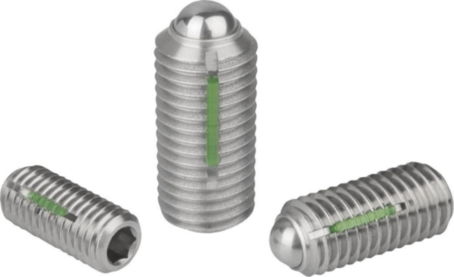 Spring plungers with hexagon socket and ball, LONG-LOK secured strong spring force Stainless steel 1.4305 M5
