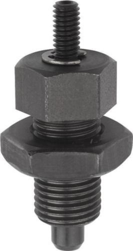 KIPP Indexing plungers with threaded pin, with locknut Metric fine thread Steel 5.8, hardened pin Black oxide 3MM