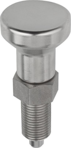 KIPP Indexing plungers, non-lockout type, without locknut Metric fine thread Stainless steel 1.4305, pin not hardened, stainless steel grip