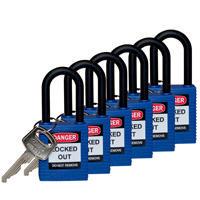 Brady Safety padlock 38MM W/PS BLUE KD 6PC