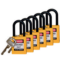 Brady Safety padlock 38MM W/PS YELLOW KD 6PC
